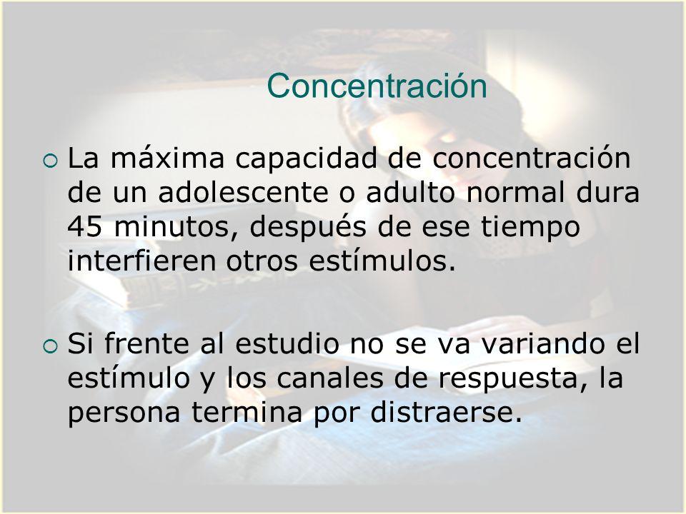 Concentración La máxima capacidad de concentración de un adolescente o adulto normal dura 45 minutos, después de ese tiempo interfieren otros estímulo