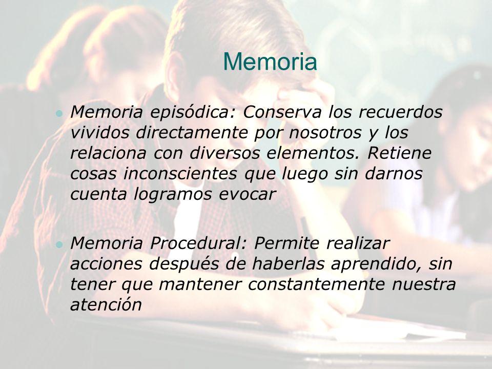 Memoria episódica: Conserva los recuerdos vividos directamente por nosotros y los relaciona con diversos elementos. Retiene cosas inconscientes que lu