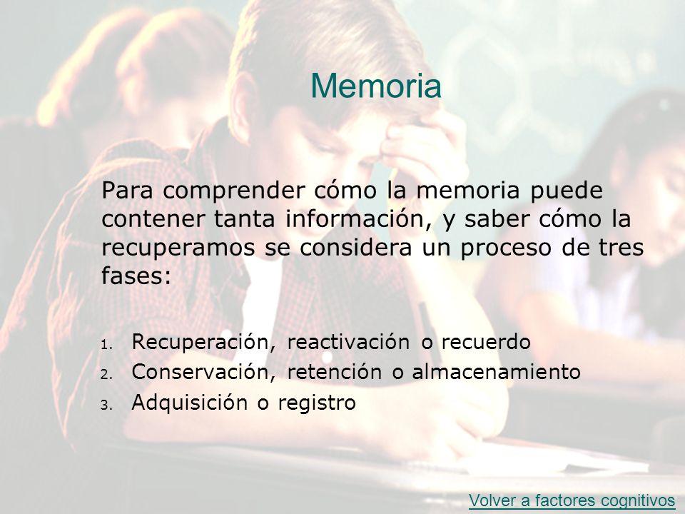 Memoria Para comprender cómo la memoria puede contener tanta información, y saber cómo la recuperamos se considera un proceso de tres fases: 1. Recupe