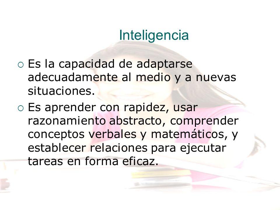 Inteligencia Es la capacidad de adaptarse adecuadamente al medio y a nuevas situaciones. Es aprender con rapidez, usar razonamiento abstracto, compren