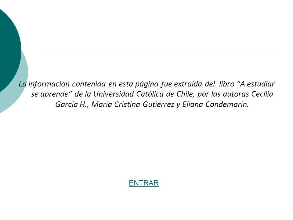 La información contenida en esta página fue extraída del libro A estudiar se aprende de la Universidad Católica de Chile, por las autoras Cecilia Garc