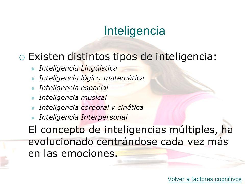 Inteligencia Existen distintos tipos de inteligencia: Inteligencia Lingüística Inteligencia lógico-matemática Inteligencia espacial Inteligencia music