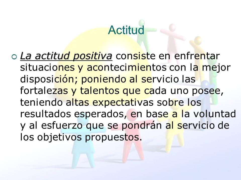 Actitud La actitud positiva La actitud positiva consiste en enfrentar situaciones y acontecimientos con la mejor disposición; poniendo al servicio las