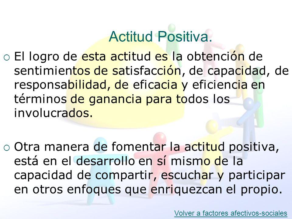 Actitud Positiva. El logro de esta actitud es la obtención de sentimientos de satisfacción, de capacidad, de responsabilidad, de eficacia y eficiencia