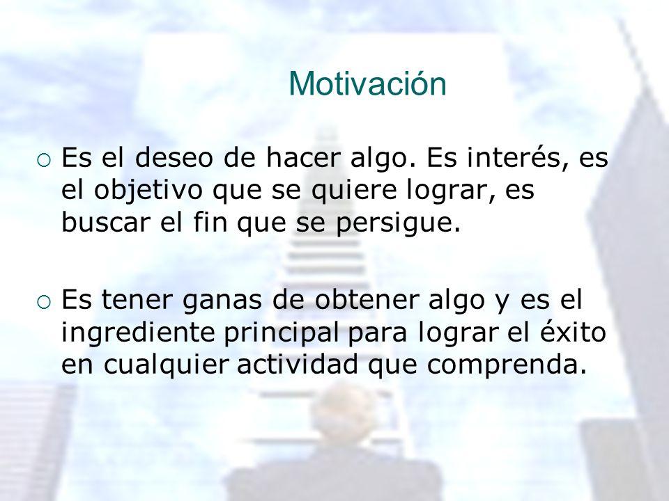 Motivación Es el deseo de hacer algo. Es interés, es el objetivo que se quiere lograr, es buscar el fin que se persigue. Es tener ganas de obtener alg
