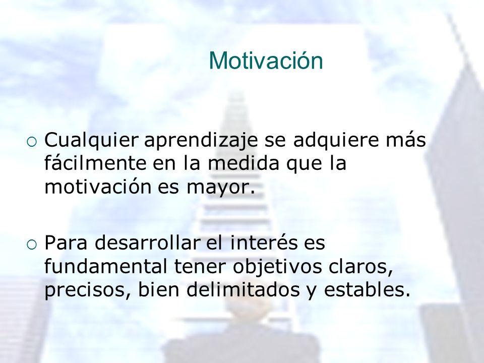 Motivación Cualquier aprendizaje se adquiere más fácilmente en la medida que la motivación es mayor. Para desarrollar el interés es fundamental tener