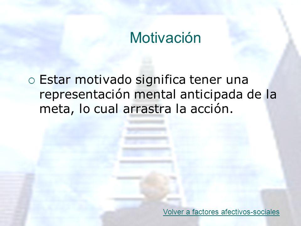 Motivación Estar motivado significa tener una representación mental anticipada de la meta, lo cual arrastra la acción. Volver a factores afectivos-soc