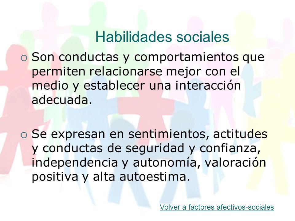 Habilidades sociales Son conductas y comportamientos que permiten relacionarse mejor con el medio y establecer una interacción adecuada. Se expresan e
