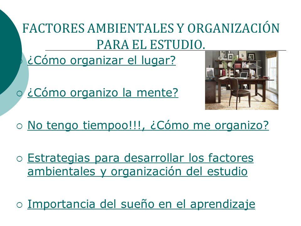 FACTORES AMBIENTALES Y ORGANIZACIÓN PARA EL ESTUDIO. ¿Cómo organizar el lugar? ¿Cómo organizo la mente? No tengo tiempoo!!!, ¿Cómo me organizo? Estrat