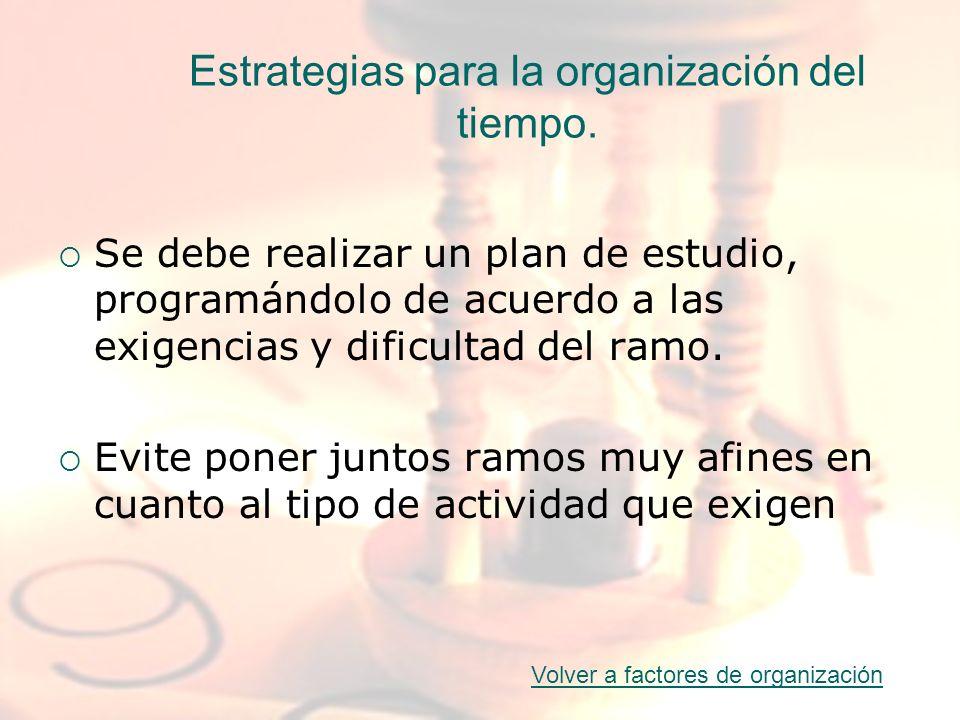 Estrategias para la organización del tiempo. Se debe realizar un plan de estudio, programándolo de acuerdo a las exigencias y dificultad del ramo. Evi