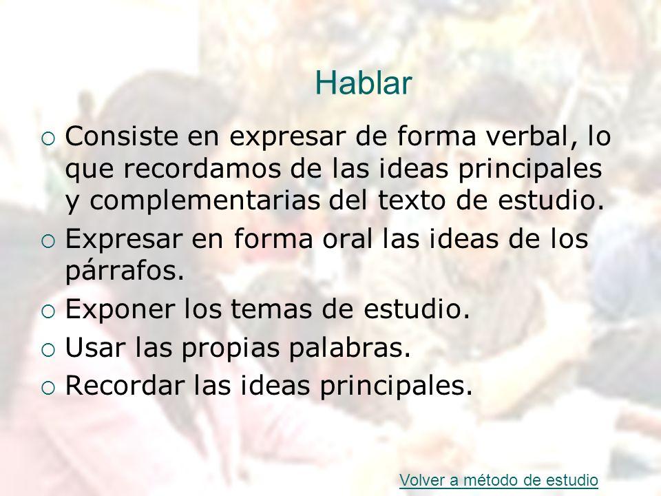 Hablar Consiste en expresar de forma verbal, lo que recordamos de las ideas principales y complementarias del texto de estudio. Expresar en forma oral