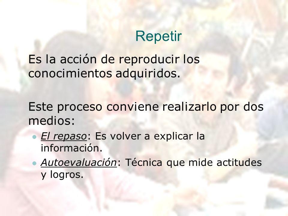 Repetir Es la acción de reproducir los conocimientos adquiridos. Este proceso conviene realizarlo por dos medios: El repaso: Es volver a explicar la i
