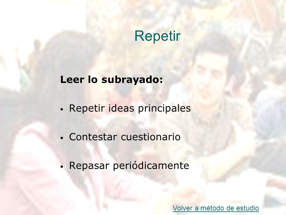 Repetir Leer lo subrayado: Repetir ideas principales Contestar cuestionario Repasar periódicamente Volver a método de estudio