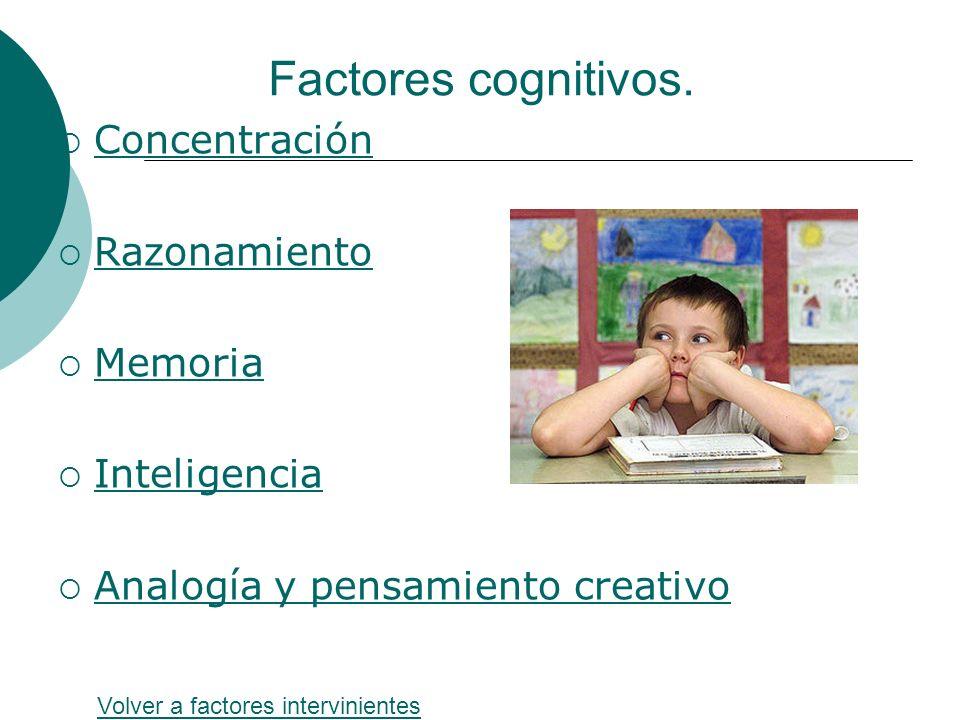 Factores cognitivos. Concentración Razonamiento Memoria Inteligencia Analogía y pensamiento creativo Volver a factores intervinientes