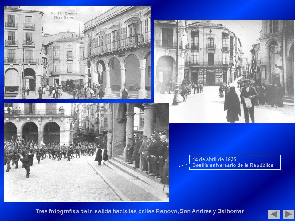 Tres fotografías de la salida hacia las calles Renova, San Andrés y Balborraz 14 de abril de 1935.