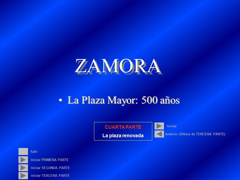 ZAMORA La Plaza Mayor: 500 años Iniciar PRIMERA PARTE Iniciar SEGUNDA PARTE Iniciar CUARTA PARTE La plaza renovada Anterior (Última de TERCERA PARTE) Salir Iniciar TERCERA PARTE