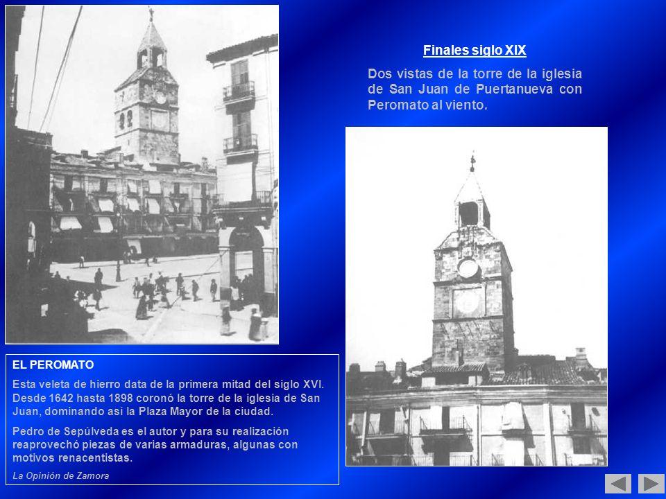 Finales siglo XIX Dos vistas de la torre de la iglesia de San Juan de Puertanueva con Peromato al viento.