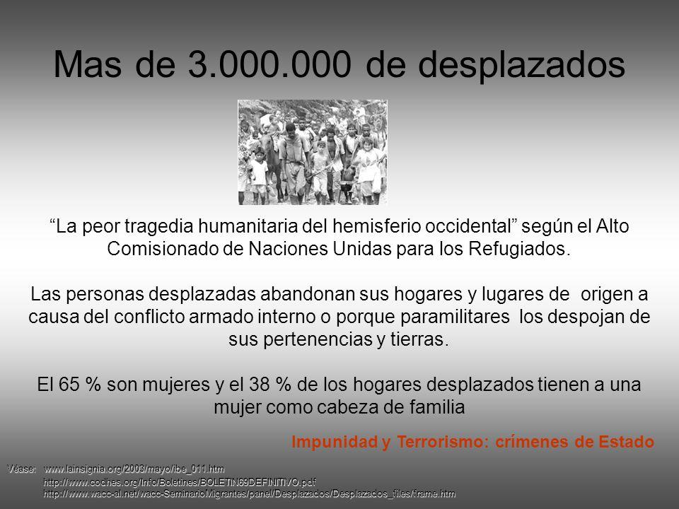 Mas de 3.000.000 de desplazados La peor tragedia humanitaria del hemisferio occidental según el Alto Comisionado de Naciones Unidas para los Refugiados.