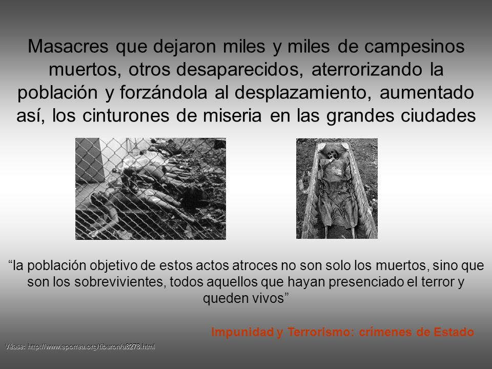 Entre 1982 y 2005 los paramilitares han cometido 3500 masacres y robaron mas de seis millones de hectáreas a campesinos en diferentes rincones del pai