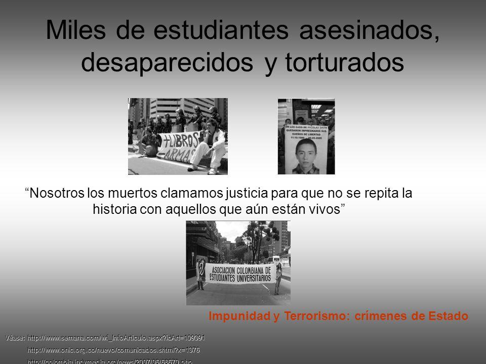 Miles de estudiantes asesinados, desaparecidos y torturados Nosotros los muertos clamamos justicia para que no se repita la historia con aquellos que aún están vivos Véase: http://www.semana.com/wf_InfoArticulo.aspx?idArt=109391 http://www.onic.org.co/nuevo/comunicados.shtml?x=1376 http://www.onic.org.co/nuevo/comunicados.shtml?x=1376 http://colombia.indymedia.org/news/2007/06/68670.php http://colombia.indymedia.org/news/2007/06/68670.php Impunidad y Terrorismo: crímenes de Estado