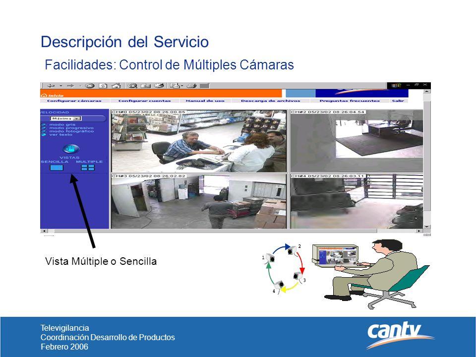 Televigilancia Coordinación Desarrollo de Productos Febrero 2006 Descripción del Servicio Facilidades: Control de Múltiples Cámaras Vista Múltiple o Sencilla