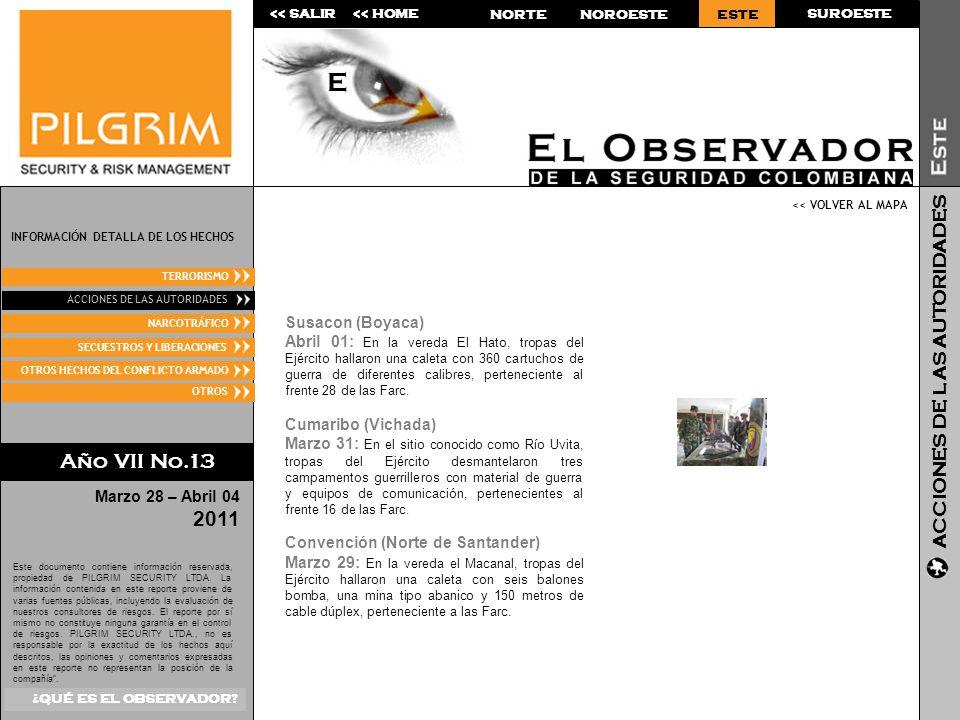 NOROESTE SUROESTE<< SALIR<< HOME Marzo 28 – Abril 04 2011 Este documento contiene información reservada, propiedad de PILGRIM SECURITY LTDA.