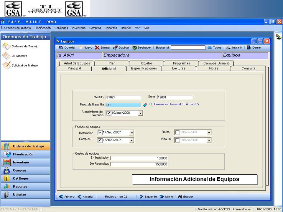 Información Técnica y Centros de Costos de Equipos