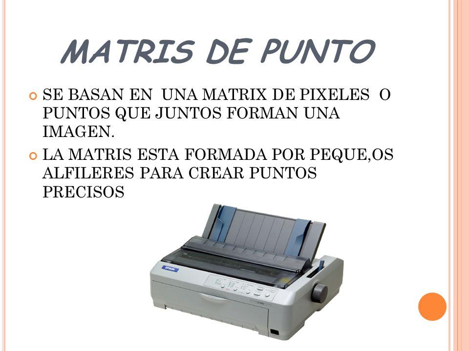 MATRIS DE PUNTO SE BASAN EN UNA MATRIX DE PIXELES O PUNTOS QUE JUNTOS FORMAN UNA IMAGEN.