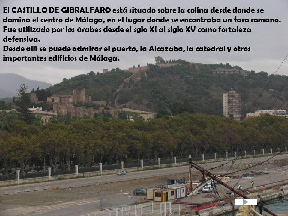 El CASTILLO DE GIBRALFARO está situado sobre la colina desde donde se domina el centro de Málaga, en el lugar donde se encontraba un faro romano. Fue