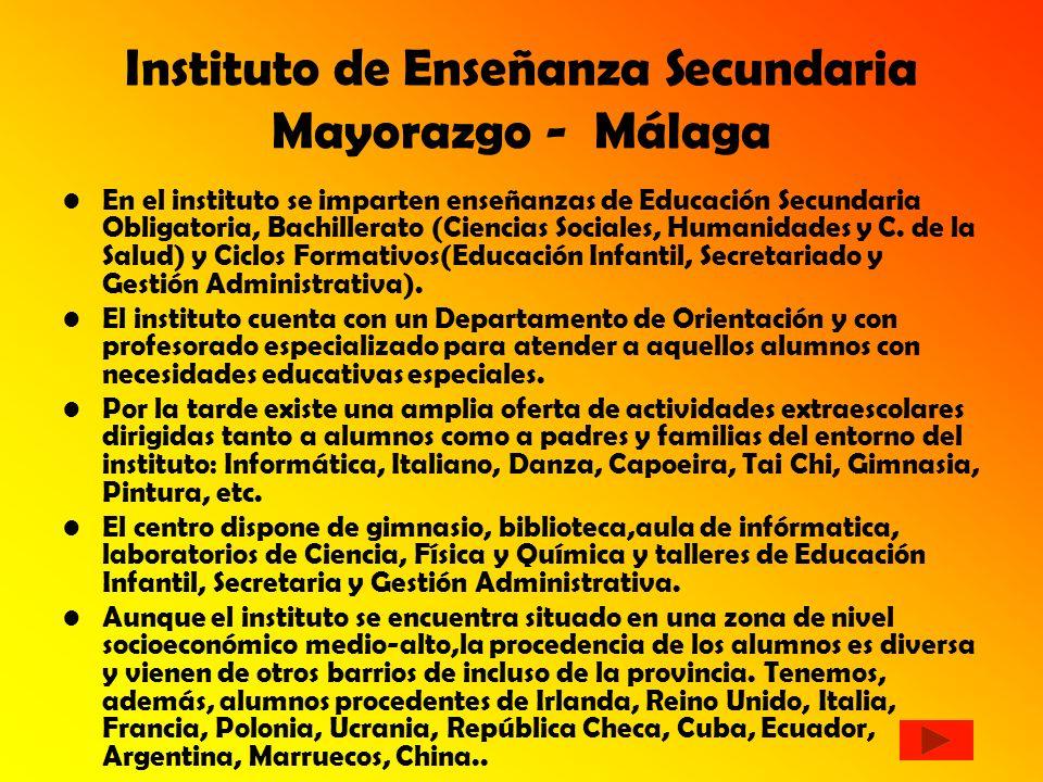 Instituto de Enseñanza Secundaria Mayorazgo - Málaga En el instituto se imparten enseñanzas de Educación Secundaria Obligatoria, Bachillerato (Ciencias Sociales, Humanidades y C.