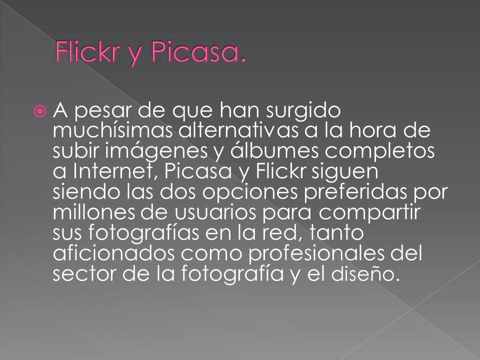 A pesar de que han surgido muchísimas alternativas a la hora de subir imágenes y álbumes completos a Internet, Picasa y Flickr siguen siendo las dos opciones preferidas por millones de usuarios para compartir sus fotografías en la red, tanto aficionados como profesionales del sector de la fotografía y el diseño.