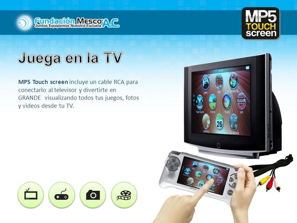 MP5 Touch screen incluye un cable RCA para conectarlo al televisor y divertirte en GRANDE visualizando todos tus juegos, fotos y videos desde tu TV.