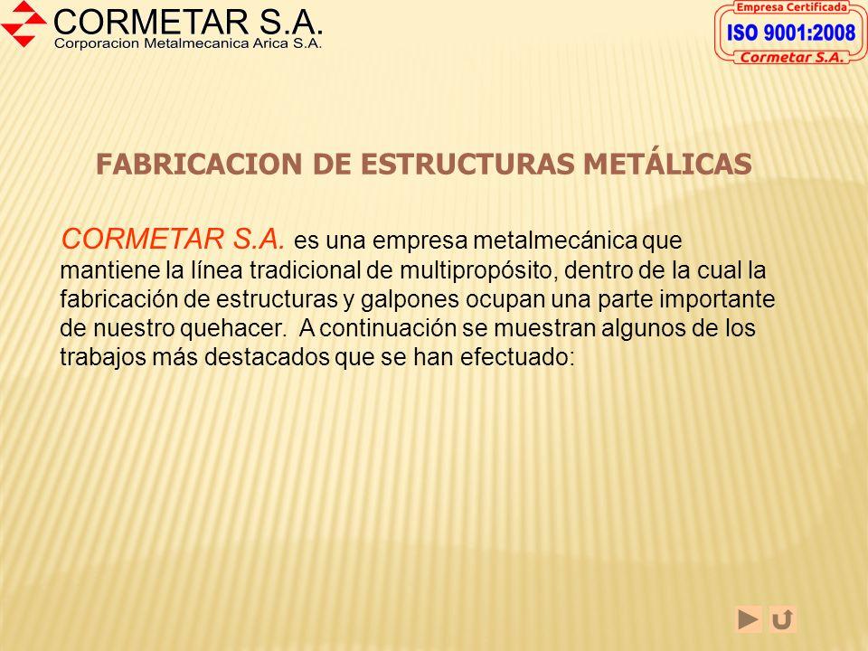POLITICA DE ALCOHOL Y DROGAS Corporación Metalmecánica Arica S.A., Cormetar S.A., en conjunto con sus trabajadores, conscientes que el abuso del alcoh