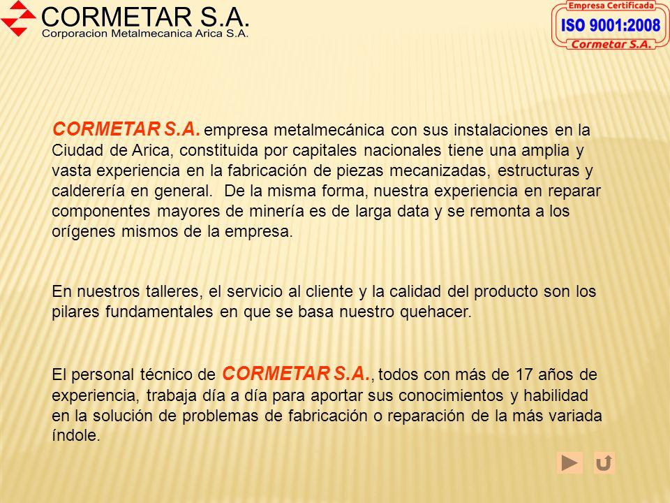 Bienvenidos al CATALOGO DIGITAL de Cormetar S.A Aquí Ud. encontrará información sobre las distintas áreas de negocio de nuestra empresa con ejemplos d