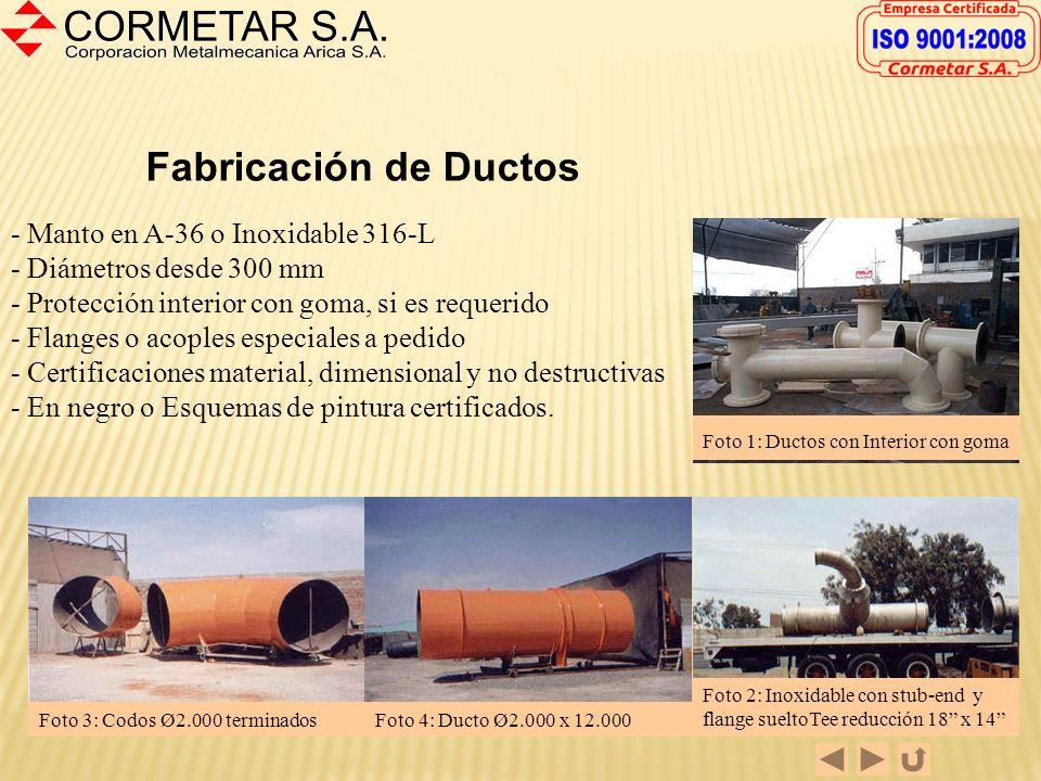 FABRICACION DE CALDERERIA CORMETAR S.A. es una empresa metalmecánica que mantiene la línea tradicional de multipropósito, dentro de la cual la caldere