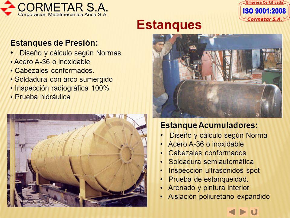 Fabricación de Ductos - Manto en A-36 o Inoxidable 316-L - Diámetros desde 300 mm - Protección interior con goma, si es requerido - Flanges o acoples