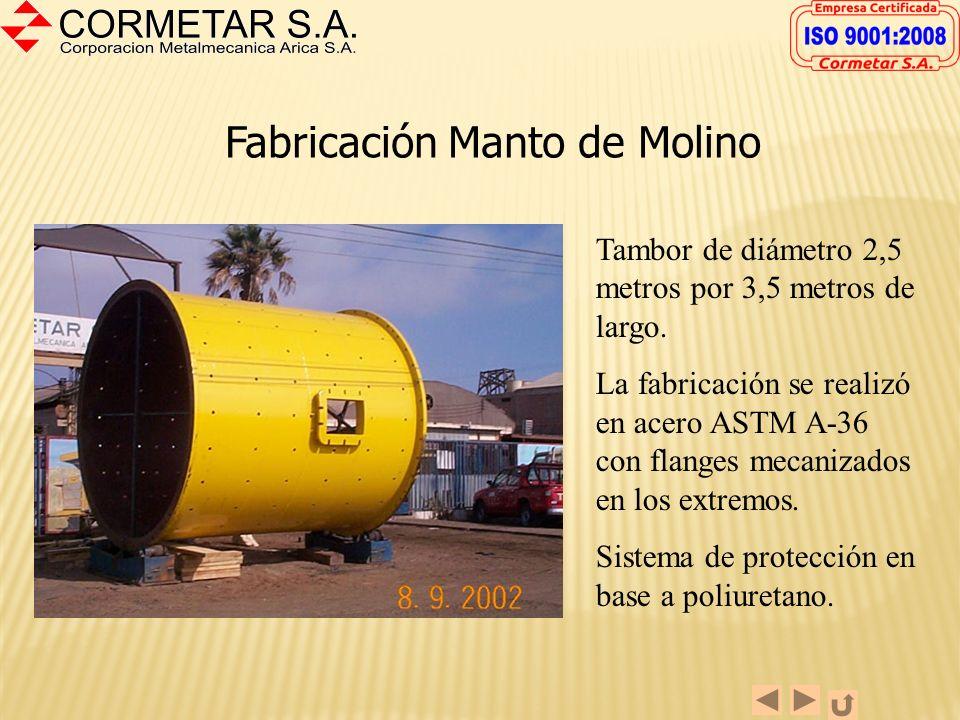Horno Calcinador 1. Características Largo : 100 (30,48 m.) Diámetro : 7-10 ( 2,39 m.) Espesor Manto : 5/8 ( 16 mm) Refuerzos Llanta : 1-1/2 ( 38 mm) M