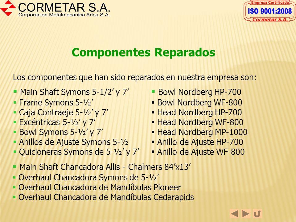 REPARACIÓN DE COMPONENTES DE CHANCADORAS CORMETAR S.A. no es una empresa fabricante de Equipos de Chancado. Hemos desarrollado a lo largo del tiempo l