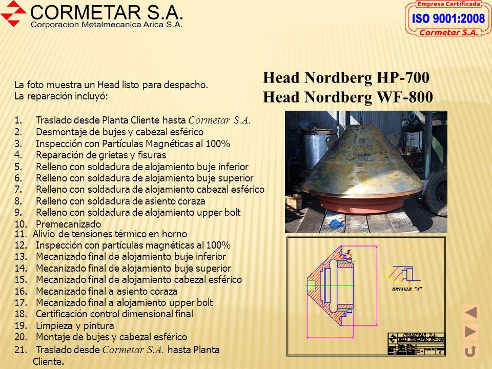 Head Nordberg MP-1000 La foto izquierda muestra un Head MP-1000 reparado en nuestra empresa. La reparación incluyó: 1. Traslado desde Planta cliente h