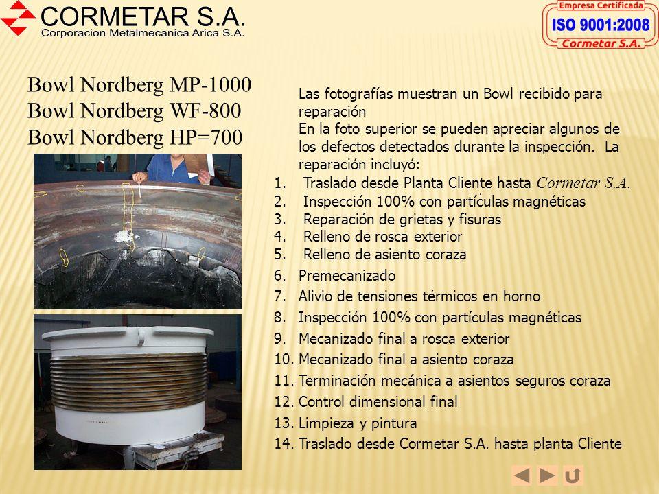 Head Nordberg HP-700 Head Nordberg WF-800 La foto muestra un Head listo para despacho. La reparación incluyó: 1. Traslado desde Planta Cliente hasta C