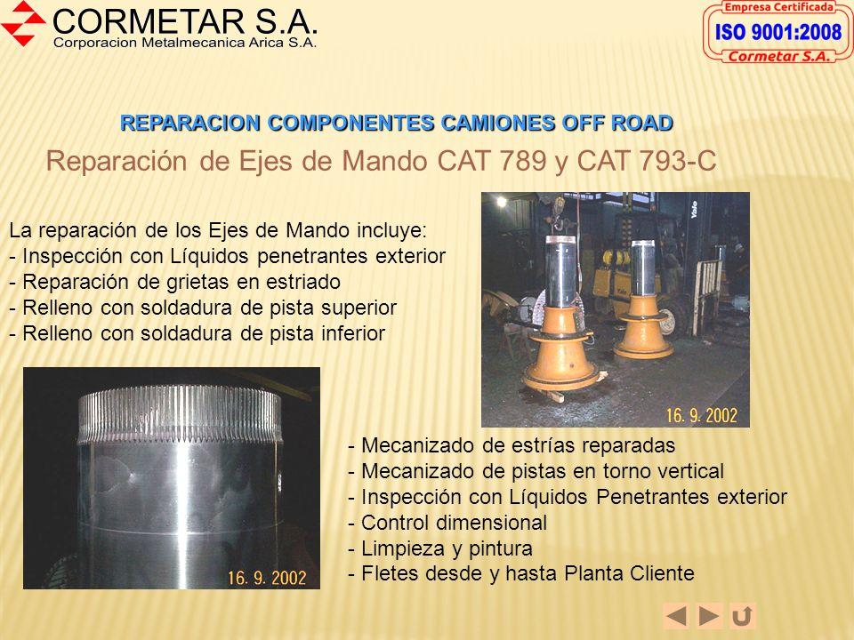REPARACION COMPONENTES CAMIONES OFF ROAD Reparación de Carriers de Alta y Baja CAT 789 y CAT 793-C La reparación incluye: - Mecanizado de alojamiento