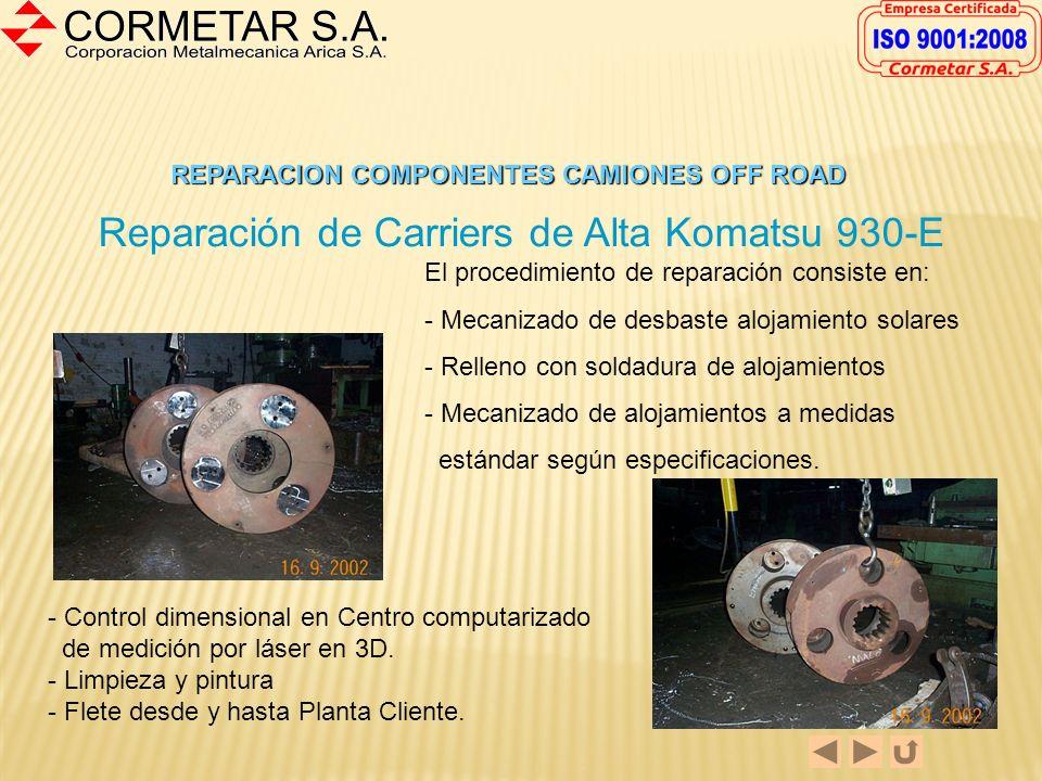 REPARACION COMPONENTES CAMIONES OFF ROAD Reparación de Eje de Mando Komatsu 930-E La reparación estándar incluye: - Reparación de hilos - Ajuste de ca