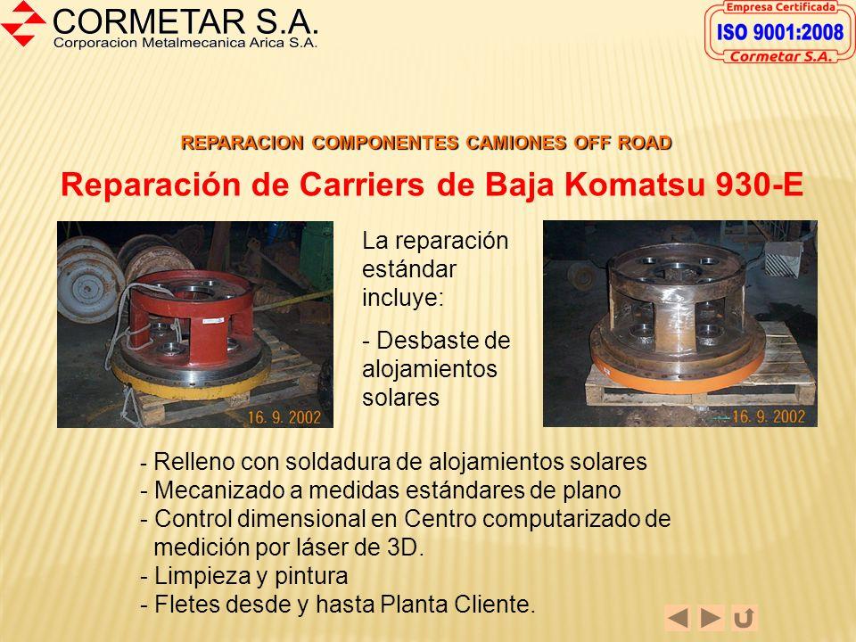 REPARACION COMPONENTES CAMIONES OFF ROAD Reparación de Carriers de Alta Komatsu 930-E El procedimiento de reparación consiste en: - Mecanizado de desb