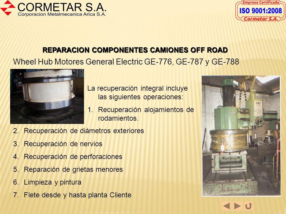 REPARACION COMPONENTES CAMIONES OFF ROAD Frames General Electric GE-776, GE-787 y GE-788 El proceso de recuperación incluye: 1.Reparación de pistas ex
