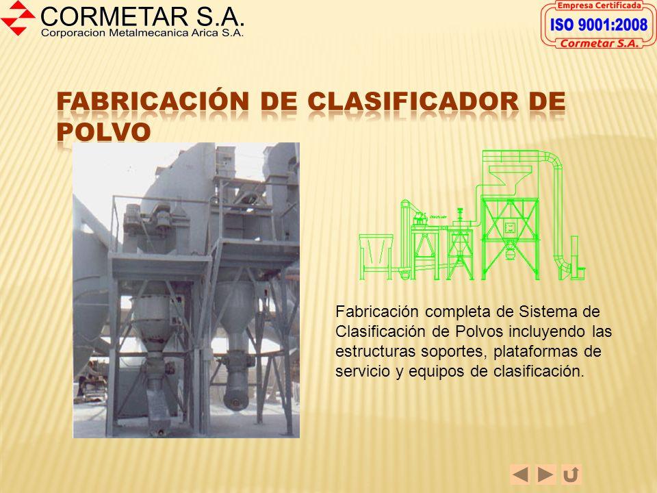 Parte del Proyecto Modificación de Planta Celite, la fabricación de la Caja de sacos que se muestra incluyó la Caja misma, la estructura soporte, duct