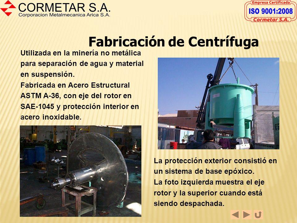 Fabricación de Desmenuzador La fotografía muestra un desmenuzador utilizado en la minería no metálica. La fabricación incluyó la estructura, ejes, mue