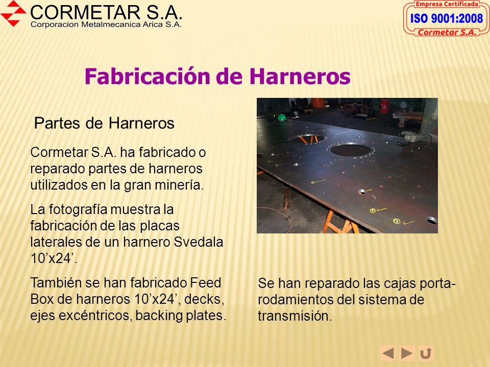 Fabricación de Harneros y Cintas Transportadoras La fabricación de Harneros, partes de ellos o la reparación de algunos de sus componentes es parte de