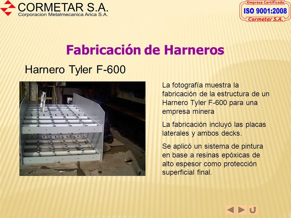 Fabricación de Harneros Partes de Harneros Cormetar S.A. ha fabricado o reparado partes de harneros utilizados en la gran minería. La fotografía muest