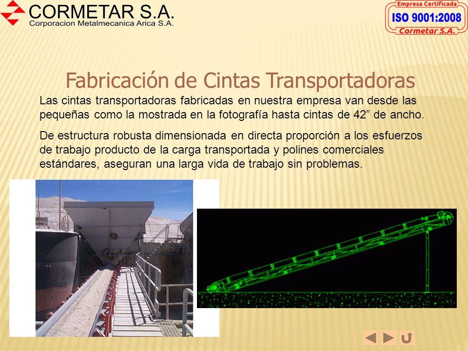 Fabricación de Harneros Las fotografías muestran algunos de los harneros para la minería no metálica fabricados en Cormetar S.A. La fabricación incluy