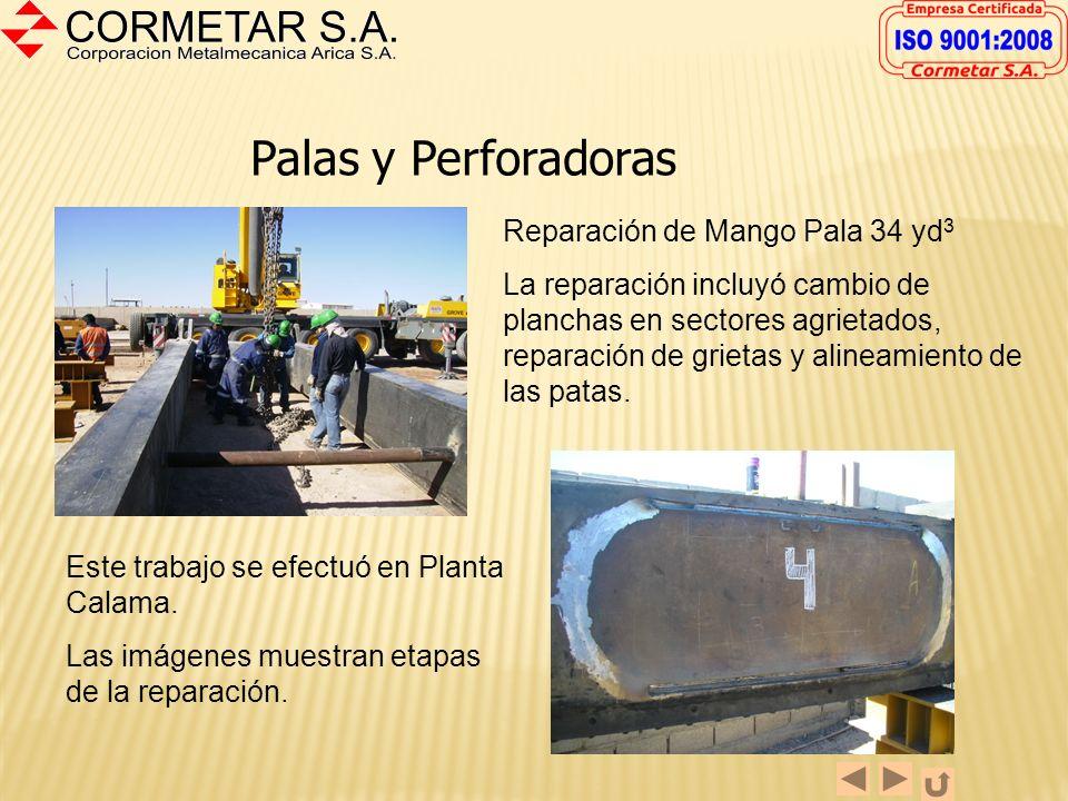 Palas y Perforadoras Reparación de Balde de Pala Electromecánica de 34 yd 3 La reparación incluyó cambio de blindajes, reparación de tapa, cambio de p